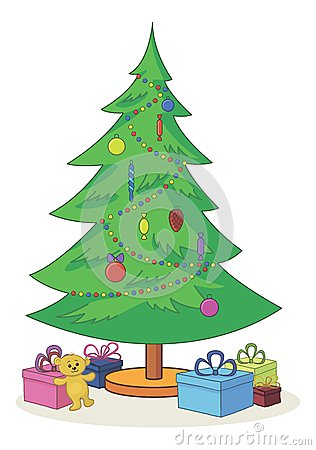 Christmas tree with toys and gift boxes