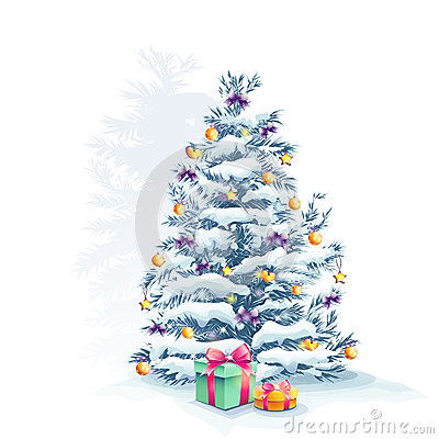 Christmas tree with toys and gifts