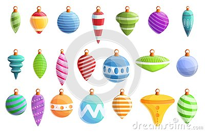 Christmas tree toys icons set, cartoon style Vector Illustration