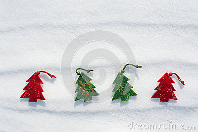 Christmas tree toys at snow