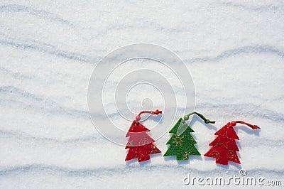 Christmas tree toys at snow