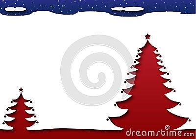 Christmas tree under a starry dark night sky