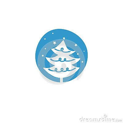 Christmas Tree vector icon illustration Cartoon Illustration