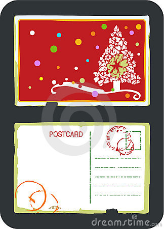 Christmas tree vector postcard