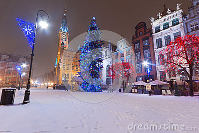 Christmas tree in winter scenery of Gdansk old town