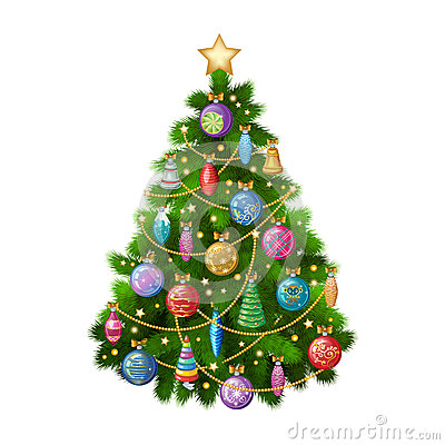 Free Christmas Tree With Colorful Ornaments, Vector Illustration. Royalty Free Stock Photo - 62813555