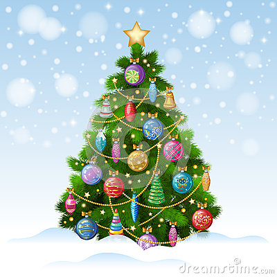 Free Christmas Tree With Colorful Ornaments, Vector Illustration. Royalty Free Stock Photo - 63535485