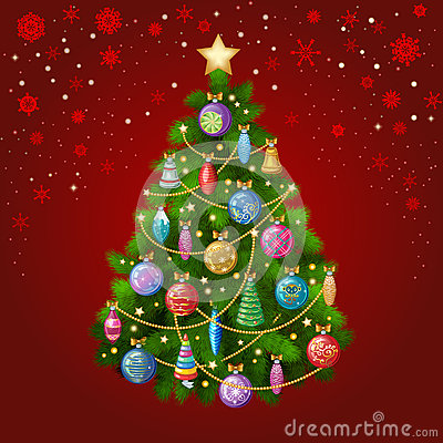 Free Christmas Tree With Colorful Ornaments, Vector Illustration. Stock Photo - 63535500