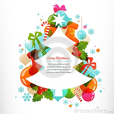 Free Christmas Tree With Labels And Decorative Elements Royalty Free Stock Image - 34414356