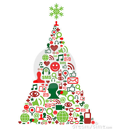Free Christmas Tree With Social Media Icons Royalty Free Stock Images - 21457239