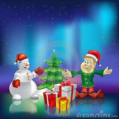 Christmas tree wiyh gifts on aurora borealis