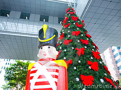 Christmas tree and wooden soldier decoration