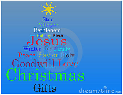 Christmas tree word cloud card