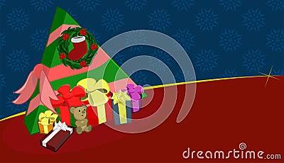 Christmas Tree Wreath Presents Gifts Illustration