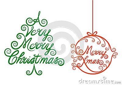 Christmas tree and xmas ball, vector