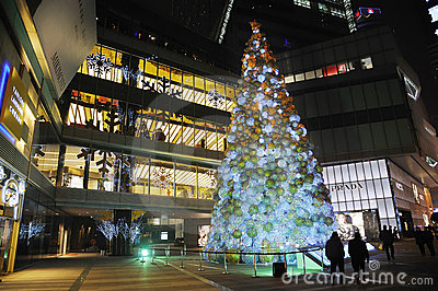 Christmas tree in Yanlord Landmark Editorial Photo