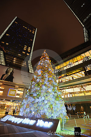 Christmas tree in Yanlord Landmark Editorial Stock Image
