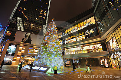 Christmas tree in Yanlord Landmark Editorial Stock Photo