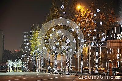 Christmas tree in Yanlord Landmark Editorial Image