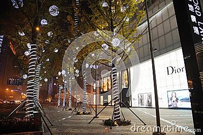 Christmas tree in Yanlord Landmark Editorial Stock Image