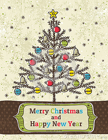 Christmas trees on beige background with label