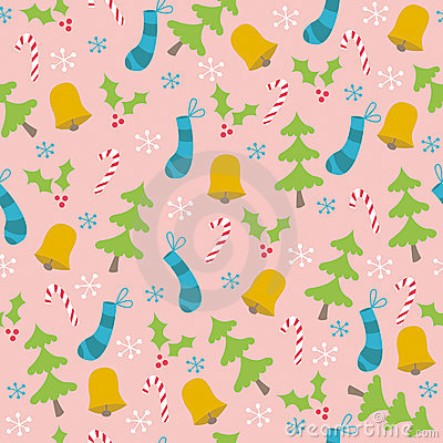 Christmas Trees and Bells Seamless Pattern