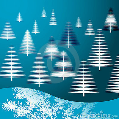 Christmas trees on blue