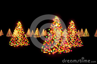 Christmas trees bokeh lights
