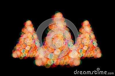 Christmas trees bokeh lights