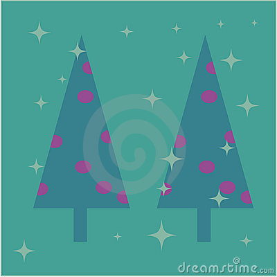 Christmas trees card design