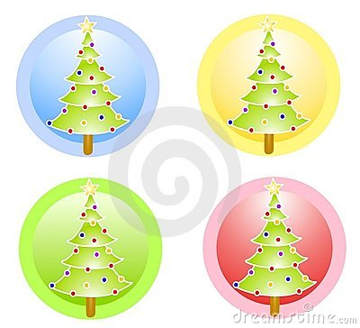 Christmas Trees Circle Icons
