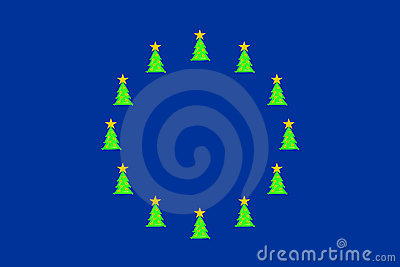 Christmas trees on EU-flag
