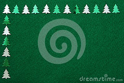 Christmas trees on felt background