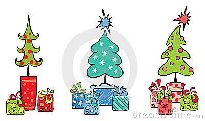 Christmas trees with gifts
