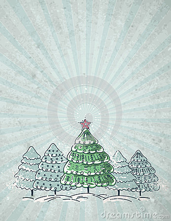 Christmas trees  on grey background, vector