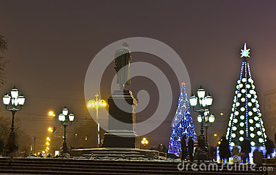 Christmas trees, Moscow. Editorial Stock Photo