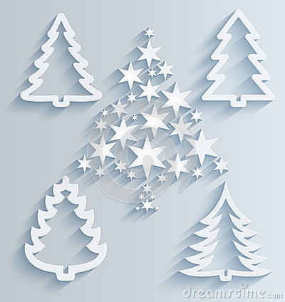 Christmas Trees Paper Holiday Decorations Stock Photo