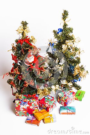 Christmas trees and presents