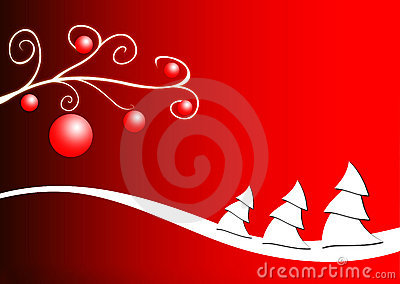 Christmas trees on red