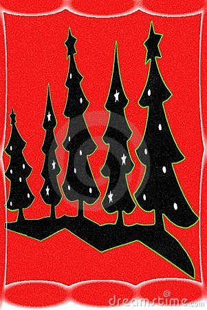 Christmas Trees/Red Background