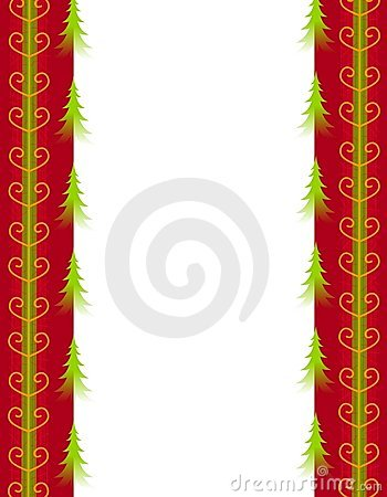 Christmas Trees and Red Gold Ribbon Border