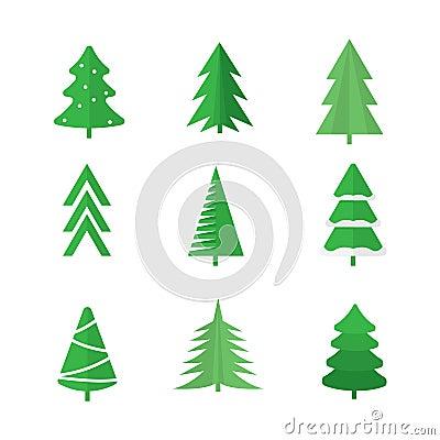 Free Christmas Trees Set Royalty Free Stock Photography - 79719567