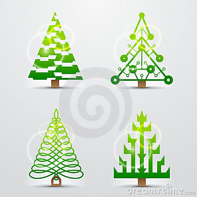Christmas Trees, Set Of Stylized Vector Symbols Stock Images - Image: 22304444