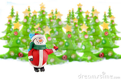 Christmas trees and snowman
