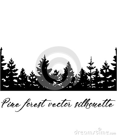 Christmas trees vector silhouette.Pine forest vector banner silhouette. Stock Photo