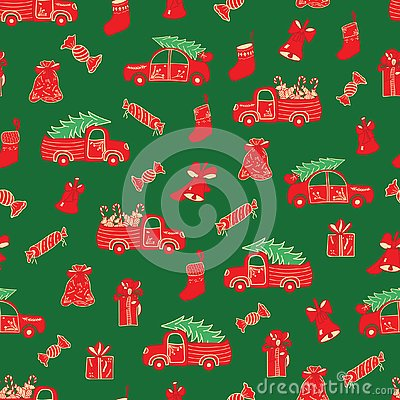 Christmas trucks and gifts red and green pattern. Vector Illustration