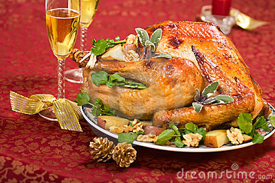 Christmas turkey on holiday ta