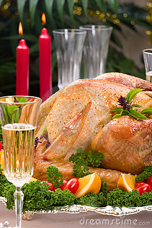 Free Christmas Turkey On Holiday Table Royalty Free Stock Photos - 3726118