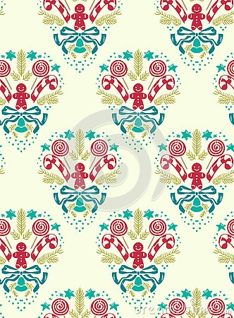 Christmas vector damask pattern seamless white blue Stock Photo