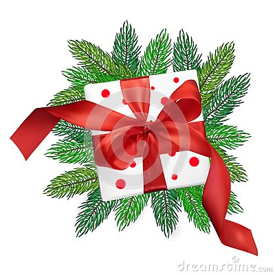 Free Christmas Vector Realism Mesh Gift Box With A Red Bow On Christmas Tree Branches On Isolated White Background Royalty Free Stock Photo - 106208755